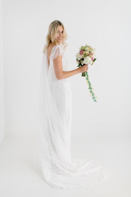 Bohemian brautschleier bodenlang und einlagig celia soft for Brautschleier ivory einlagig